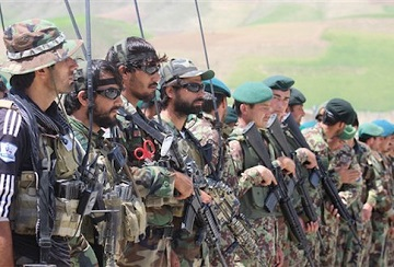 Afghan National army (ANA) soldiers line up during military training in  Badakhshan province, Afghanistan, on May 8, 2016 (Photo by Mohammad Sharif Shayeq/NurPhoto) *** Please Use Credit from Credit Field ***