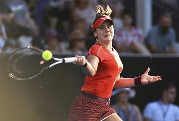 Canada's Bianca Andreescu returns a shot against Taiwan's Hsieh Su-wei during their semifinal match at the ASB Classic tennis tournament in Auckland, New Zealand, Saturday, Jan. 5, 2019. (AP Photo/Chris Symes)