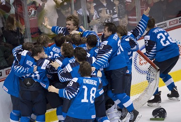 Team Finland celebrates their gold medal win over the United States following third period IIHF world junior hockey final action in Vancouver, Saturday, Jan. 5, 2019. THE CANADIAN PRESS/Jonathan Hayward