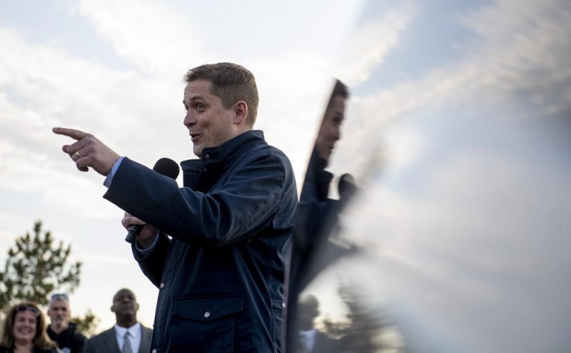 Conservative leader Andrew Scheer speaks to supporters before a door knocking event for volunteers in the Kanata suburb of Ottawa on Thursday, April 25, 2019. THE CANADIAN PRESS/Justin Tang