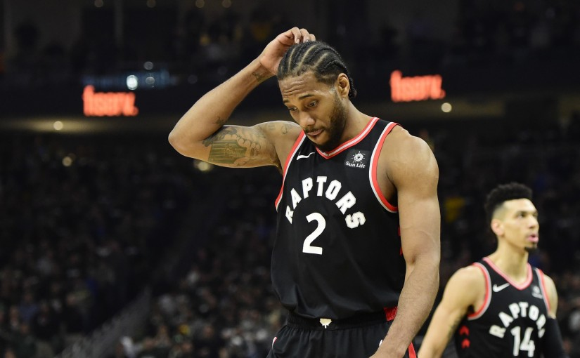 Toronto Raptors forward Kawhi Leonard (2) walks off the court at the end of the first half in Game 2 of the NBA basketball Eastern Conference finals against the Milwaukee Bucks in Milwaukee on Friday, May 17, 2019. THE CANADIAN PRESS/Frank Gunn